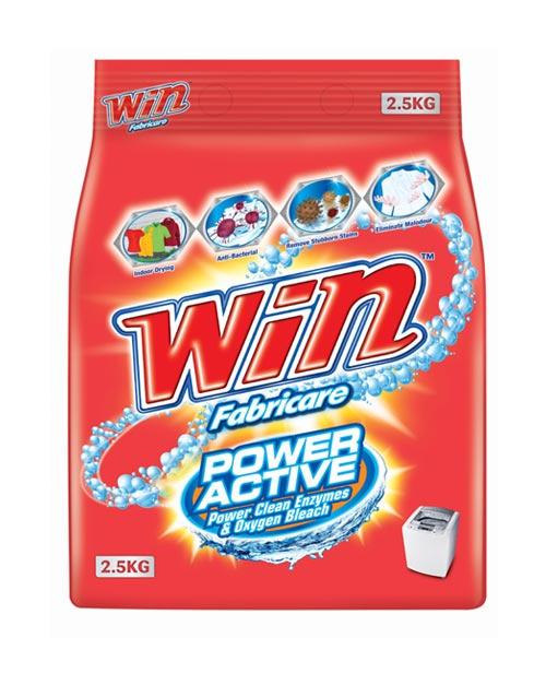 win fabricare detergent powder product shot power active