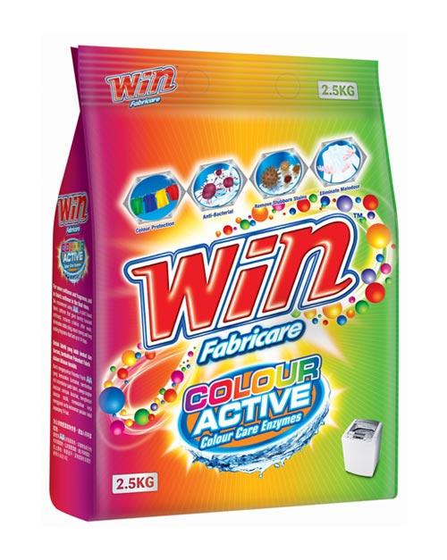 win fabricare detergent powder product shot colour active