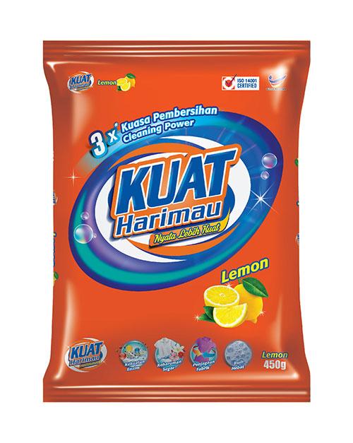 harimau kuat powder detergent lemon 450g
