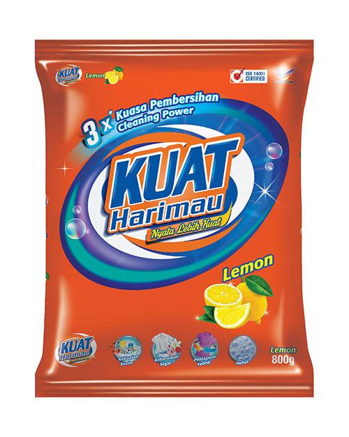 harimau kuat powder detergent lemon 800g