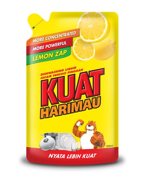 kuat harimau dish washing liquid lemon 650 ml