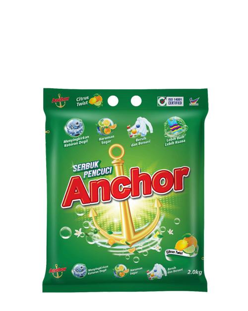 anchor detergent powder citrus twist 2kg 2kg